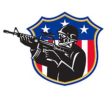 soldier swat policeman rifle shield by retrovectors