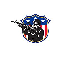 soldier swat policeman rifle shield Photographic Print