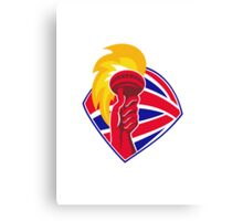 hand hold flaming torch british flag retro Canvas Print