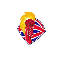 hand hold flaming torch british flag retro Photographic Print