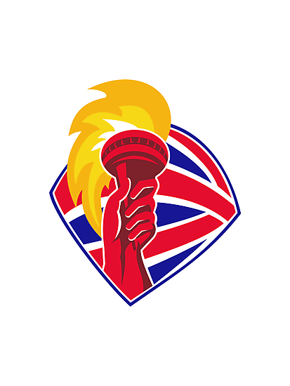 hand hold flaming torch british flag retro by retrovectors