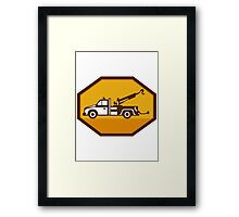 vintage tow wrecker truck side view retro Framed Print