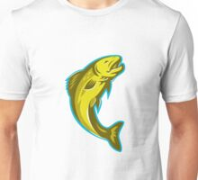trout fish jumping retro Unisex T-Shirt