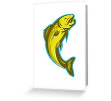 trout fish jumping retro Greeting Card