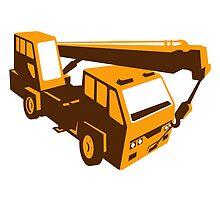 truck crane cartage hoist retro by retrovectors