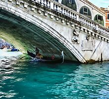 Classic Venice - A Gondola Under Rialto Bridge  by Georgia Mizuleva