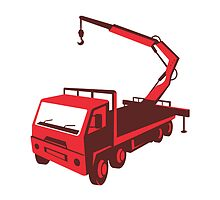 truck mounted crane cartage hoist retro by retrovectors
