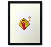 Volleyball Player Spike Ball Retro Framed Print
