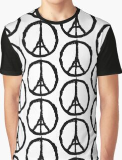 EIFFEL TOWER PEACE SIGN PRAY FOR PARIS Graphic T-Shirt
