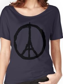 EIFFEL TOWER PEACE SIGN PRAY FOR PARIS Women's Relaxed Fit T-Shirt