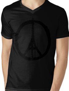 EIFFEL TOWER PEACE SIGN PRAY FOR PARIS Mens V-Neck T-Shirt