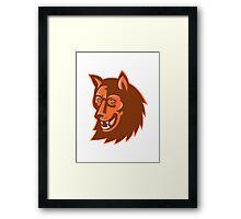 wolf wild dog head retro Framed Print