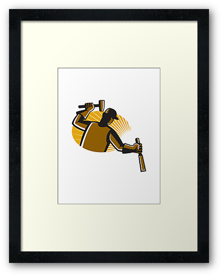 carpenter worker with hammer and chisel by retrovectors