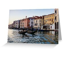 Impressions of Venice - Glossy Water Gondolas on the Grand Canal Greeting Card