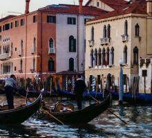 Impressions of Venice - Glossy Water Gondolas on the Grand Canal Sticker