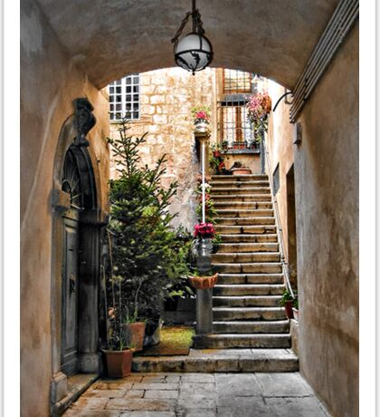 Stairway with Potted Flowers -- Orvieto, Italy Sticker