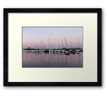 Marina in Pink - Peaceful Boat Reflections Framed Print
