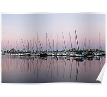 Marina in Pink - Peaceful Boat Reflections Poster
