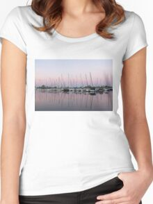 Marina in Pink - Peaceful Boat Reflections Women's Fitted Scoop T-Shirt