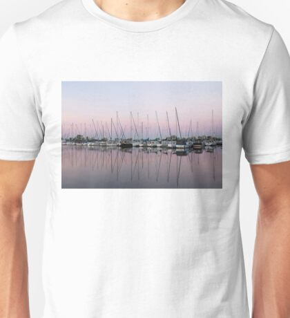Marina in Pink - Peaceful Boat Reflections Unisex T-Shirt
