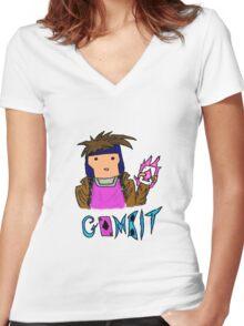 Chibi-ish Style Gambit Women's Fitted V-Neck T-Shirt