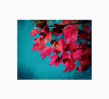 Cherry Red Maple Leaves on Teal Blue Sky Unisex T-Shirt