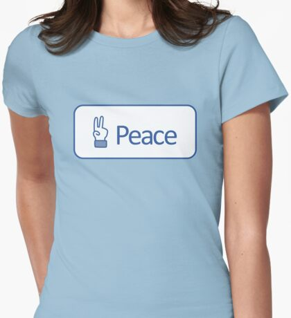 Peace button Womens Fitted T-Shirt