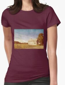 Old Gray Barn In The Country With Blue Sky Womens Fitted T-Shirt