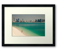 beach and skyline of Abu Dhabi Framed Print