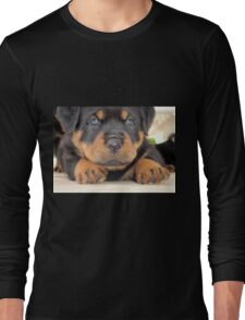 Cute Rottweiler Puppy With Blue Eyes Long Sleeve T-Shirt