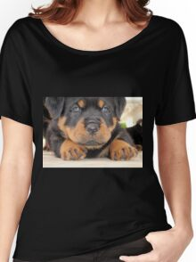 Cute Rottweiler Puppy With Blue Eyes Women's Relaxed Fit T-Shirt