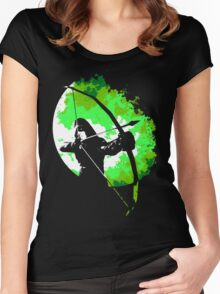 He walks at night... (Green) Women's Fitted Scoop T-Shirt