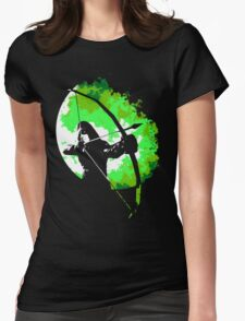 He walks at night... (Green) Womens Fitted T-Shirt