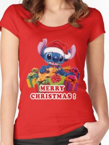 MERRY CHRISTMAS STITCH Women's Fitted Scoop T-Shirt
