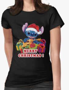 MERRY CHRISTMAS STITCH Womens Fitted T-Shirt