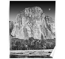 Moon over El Capitan, Yosemite National Park, California Poster