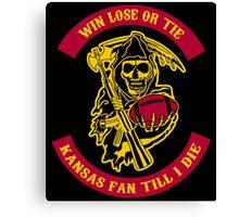 Win Lose Or Tie Kansas Fan Till I Die. Canvas Print