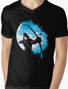 He walks at night... (Blue) Mens V-Neck T-Shirt
