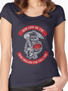 Win Lose Or Tie New England Fan Till I Die. Women's Fitted Scoop T-Shirt