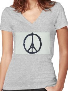 Paris Peace Women's Fitted V-Neck T-Shirt