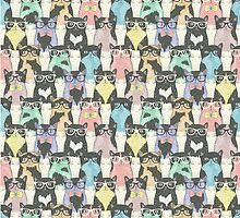 Hipster Cats Pattern by azariath