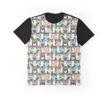 Hipster Cats Pattern Graphic T-Shirt