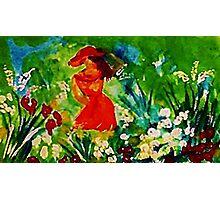 Admiring her garden, watercolor Photographic Print