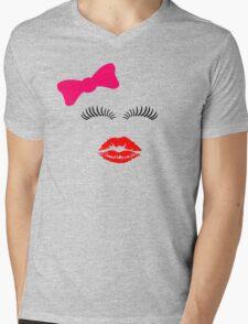 Eye lashes, kiss and hair bow. Mens V-Neck T-Shirt