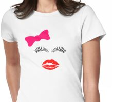 Eye lashes, kiss and hair bow. Womens Fitted T-Shirt