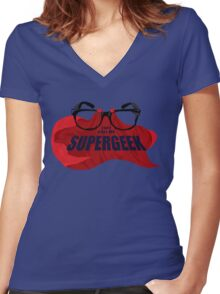 Super Geek Women's Fitted V-Neck T-Shirt