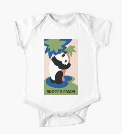 Fun retro adopt a panda One Piece - Short Sleeve