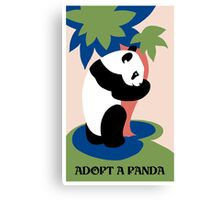 Fun retro adopt a panda Canvas Print