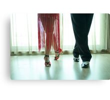 Closeup of legs of two professional latin dancers Canvas Print