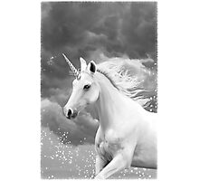 Unicorn in Snow Photographic Print